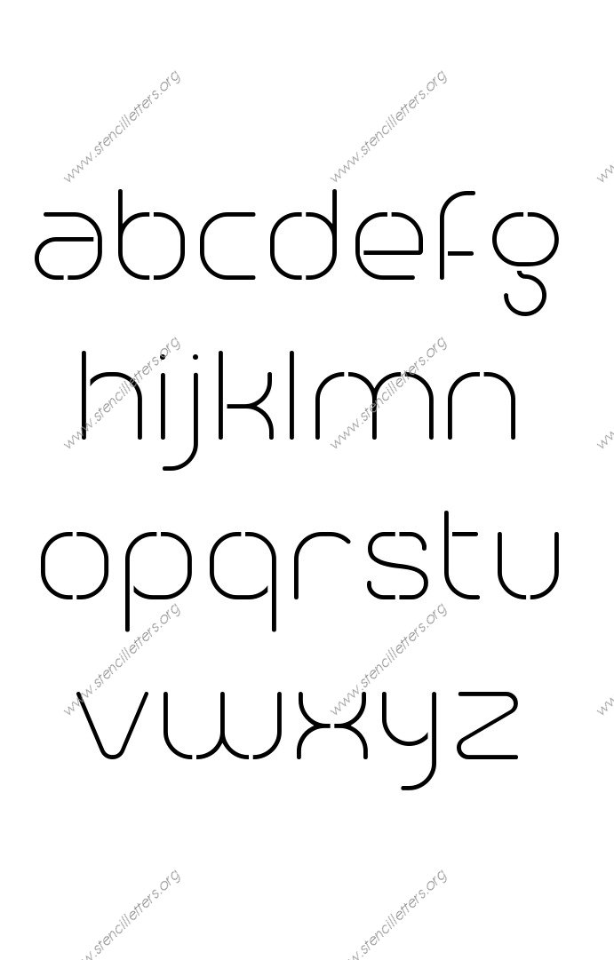Modern Elegant A to Z lowercase letter stencils