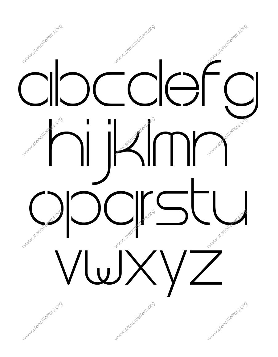 Thin Stylish A to Z lowercase letter stencils