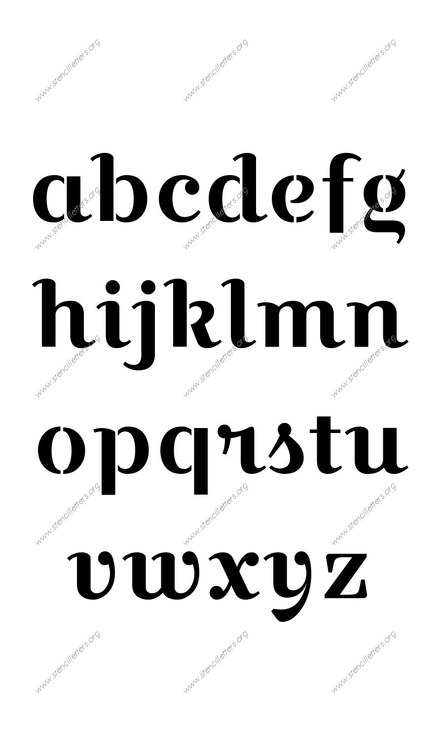 Wedding Script A to Z lowercase letter stencils