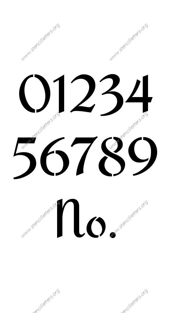Cursive Script Calligraphy 0 to 9 number stencils