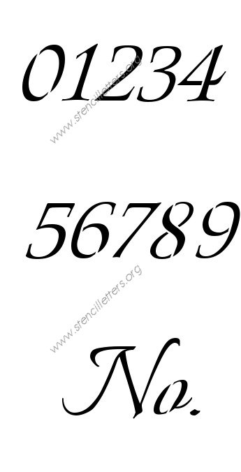 Connected Calligraphy Number Stencil