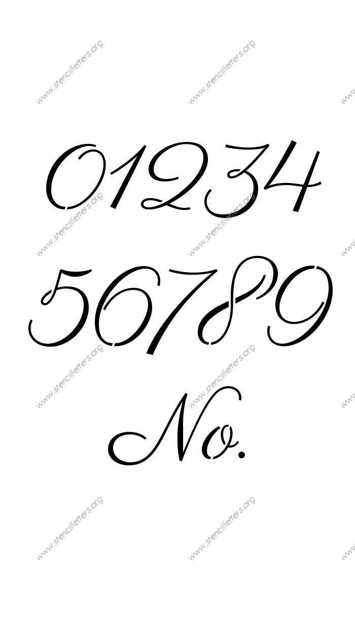 1960s Calligraphy 0 to 9 number stencils