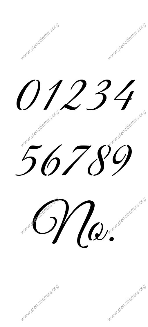 Elegant Calligraphy 0 to 9 number stencils