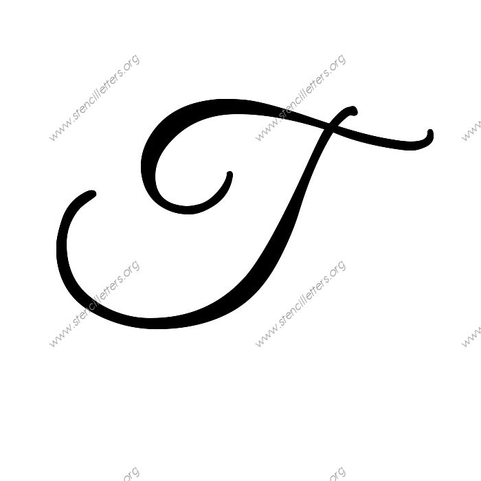 Elegant calligraphy uppercase lowercase letter stencils T in calligraphy
