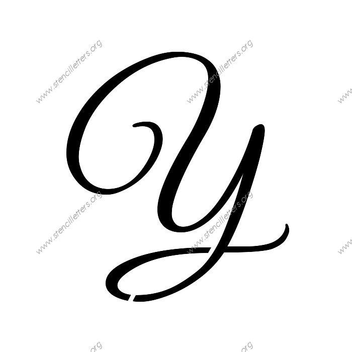 Elegant calligraphy uppercase lowercase letter stencils