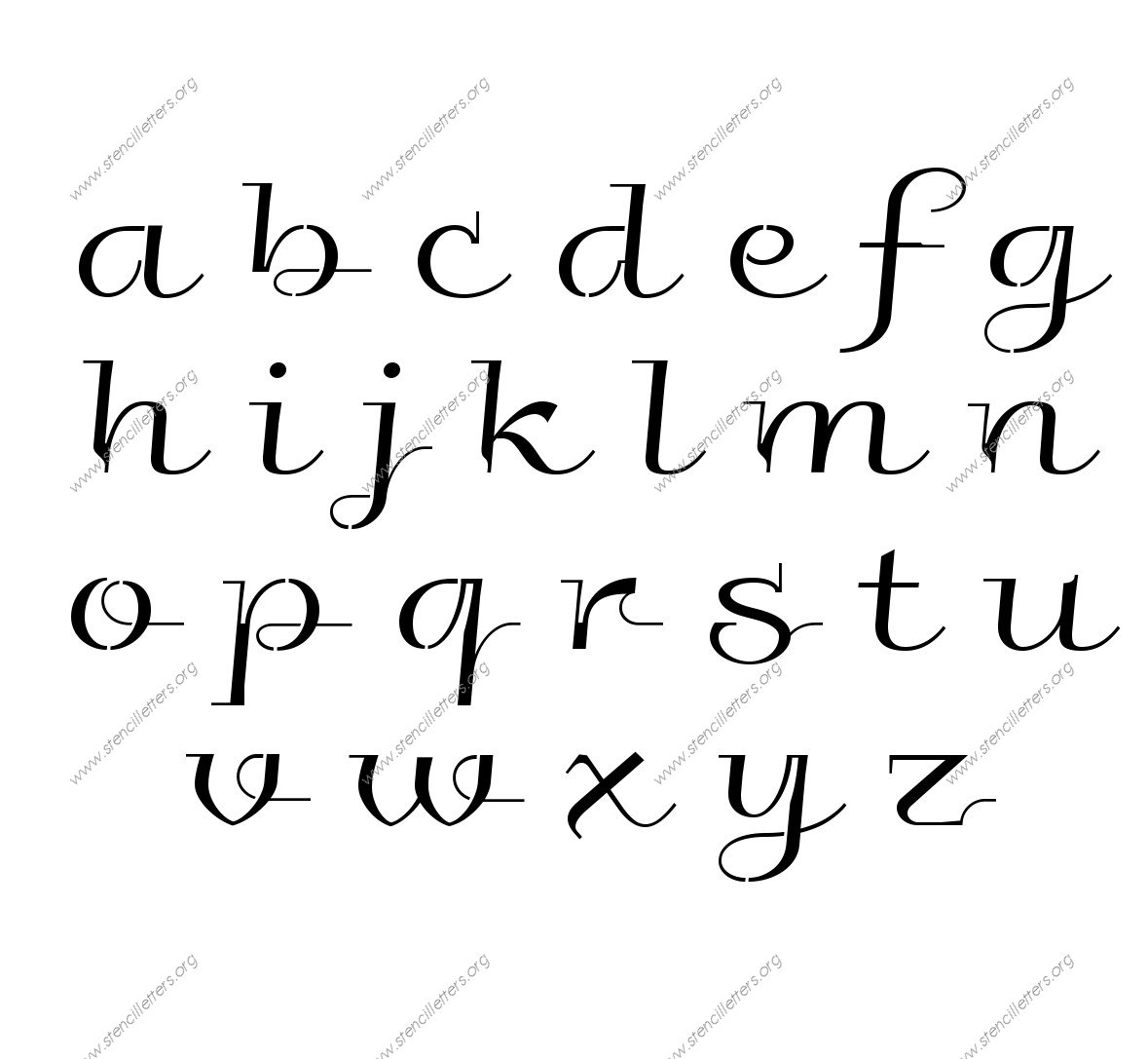 Wedding Calligraphy a to z lowercase letter stencils
