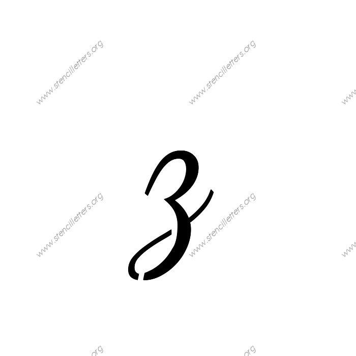 Worksheets Cursize Z 1950s cursive script uppercase lowercase letter stencils a z 14 1 12inch stencils133 cursivelowercasestencil letter