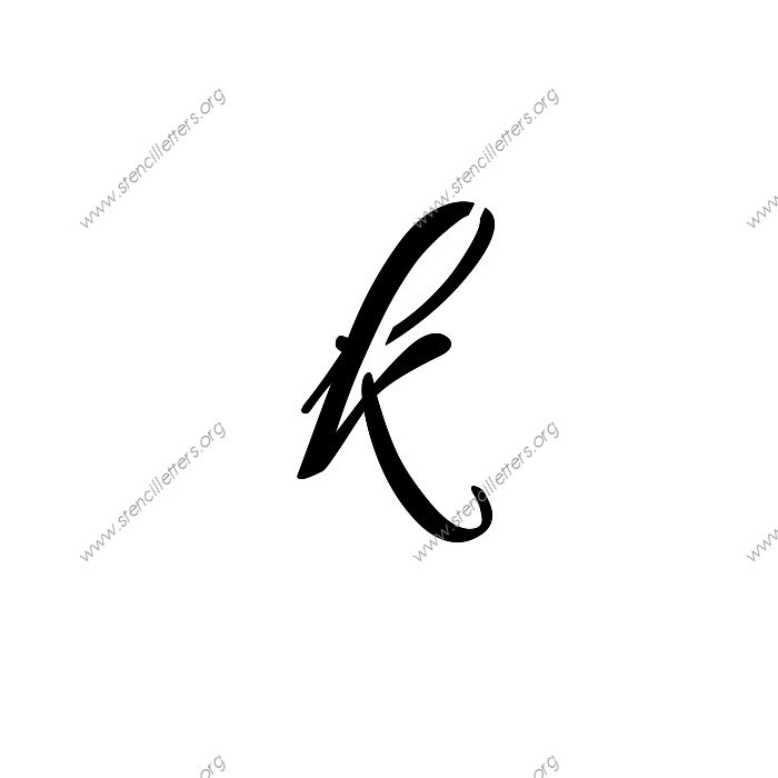 Connected Cursive Uppercase Lowercase Letter Stencils A Z