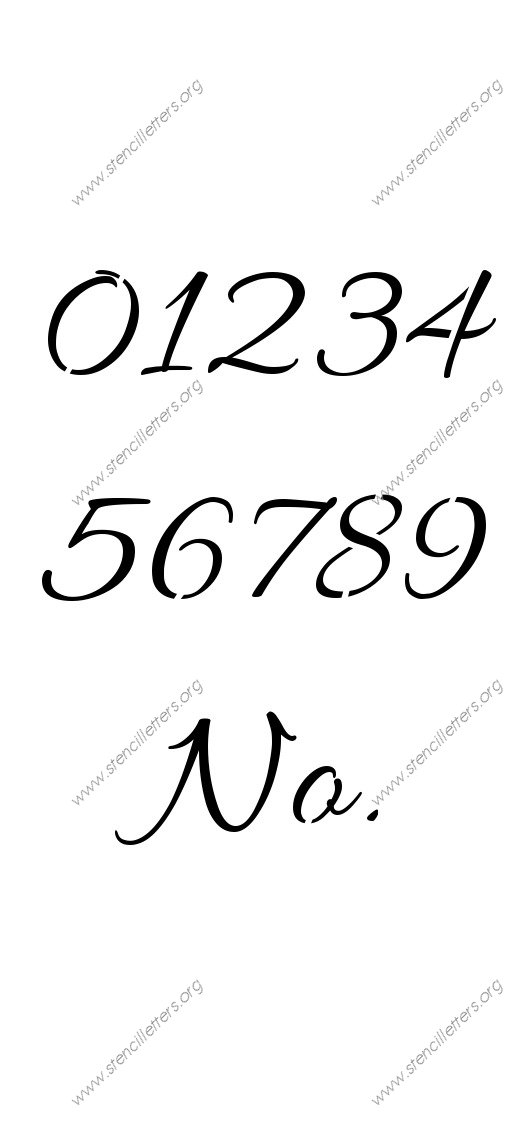 Connected Cursive 0 to 9 number stencils