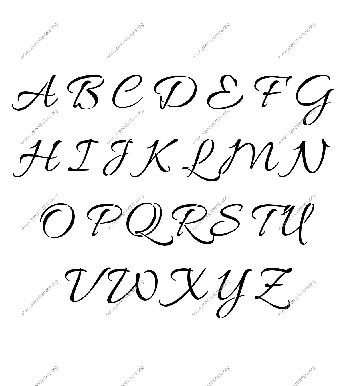 Connected Cursive Uppercase & Lowercase Letter Stencils A Z 1 4 to