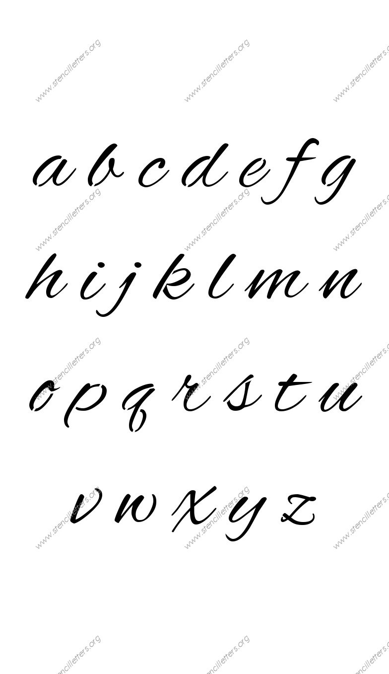 Flowing Cursive a to z lowercase letter stencils
