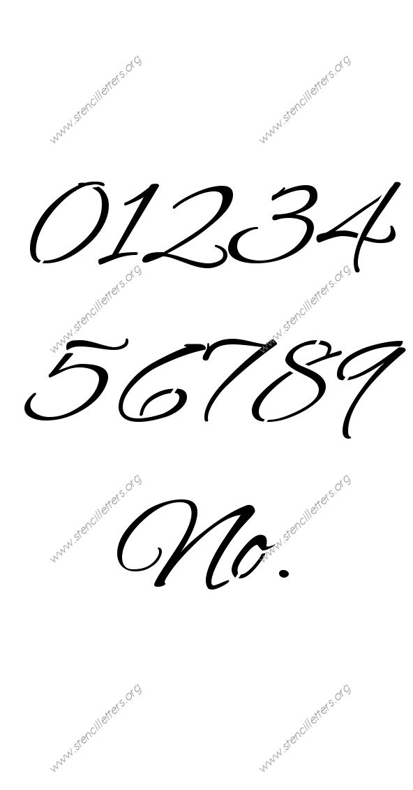 Flowing Cursive 0 to 9 number stencils