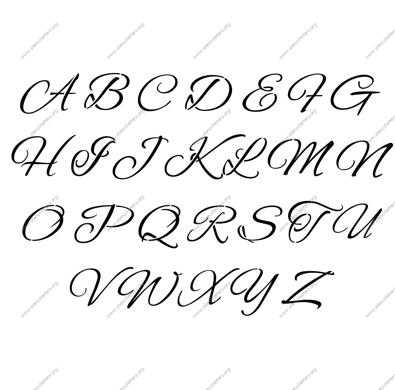 Flowing Cursive A to Z uppercase lowercase letter stencil set