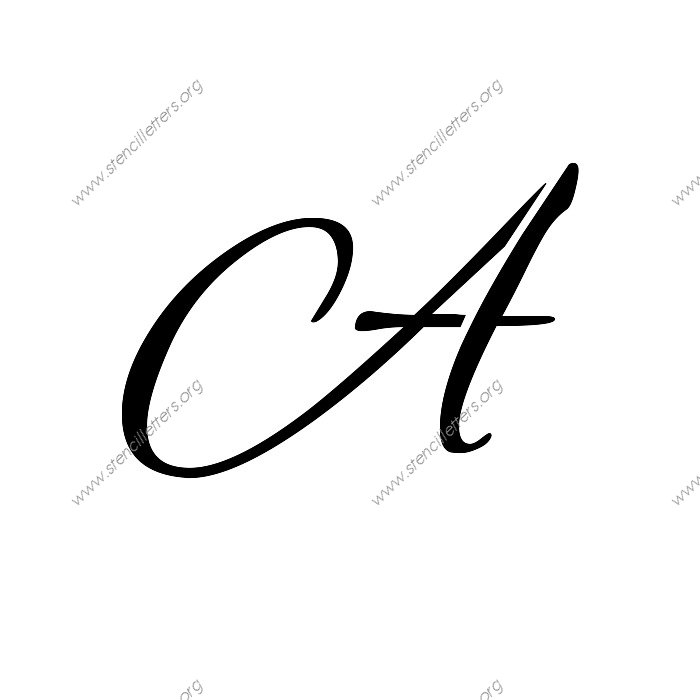 stencil-letter-a  Inch Printable Cursive Letter Stencils Templates on