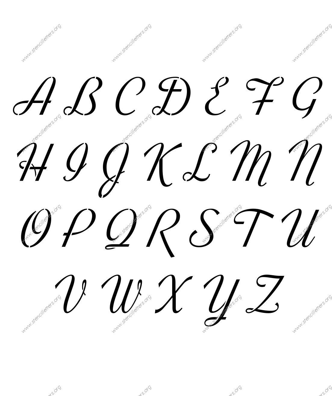 retro vintage cursive uppercase lowercase letter stencils a z 1 4