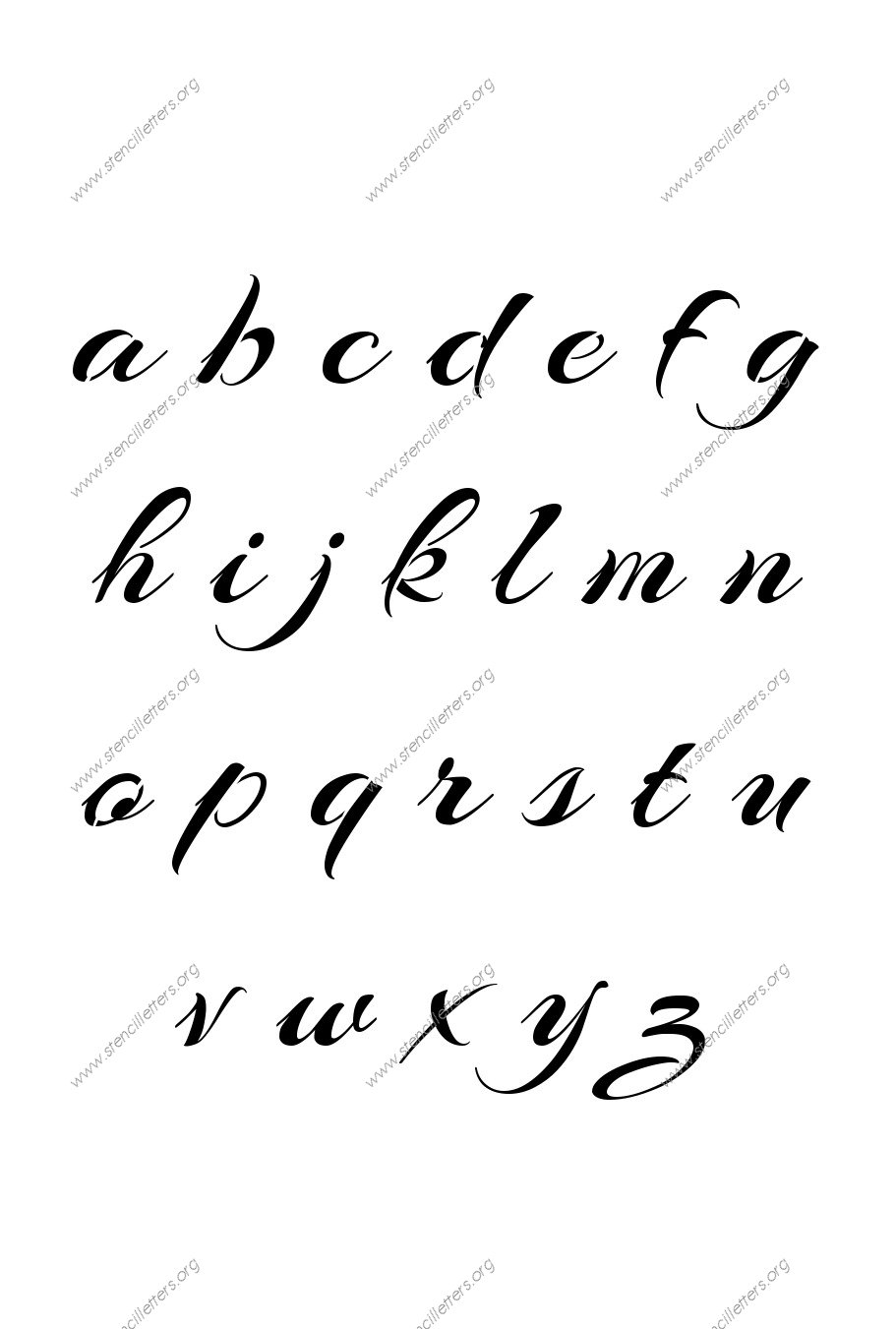 Brushed Cursive A to Z lowercase letter stencils