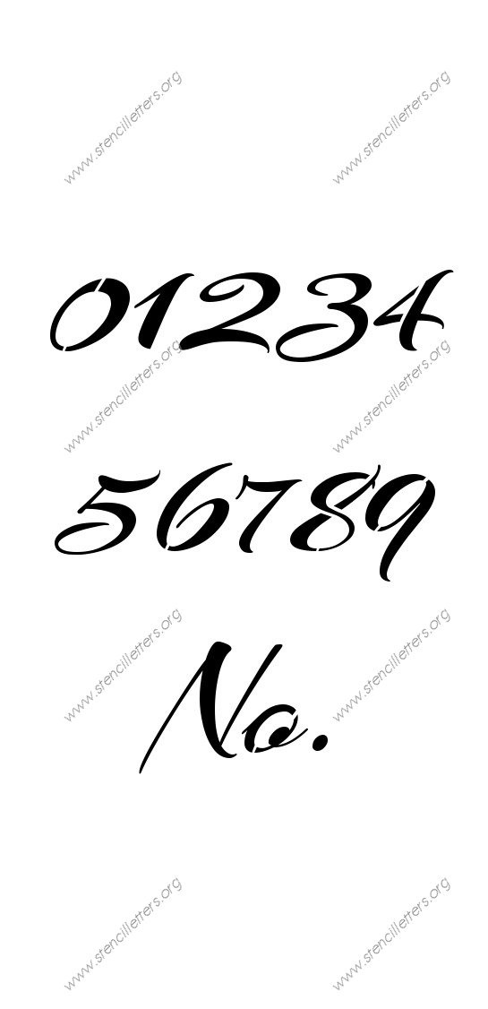 Brushed Cursive 0 to 9 number stencils