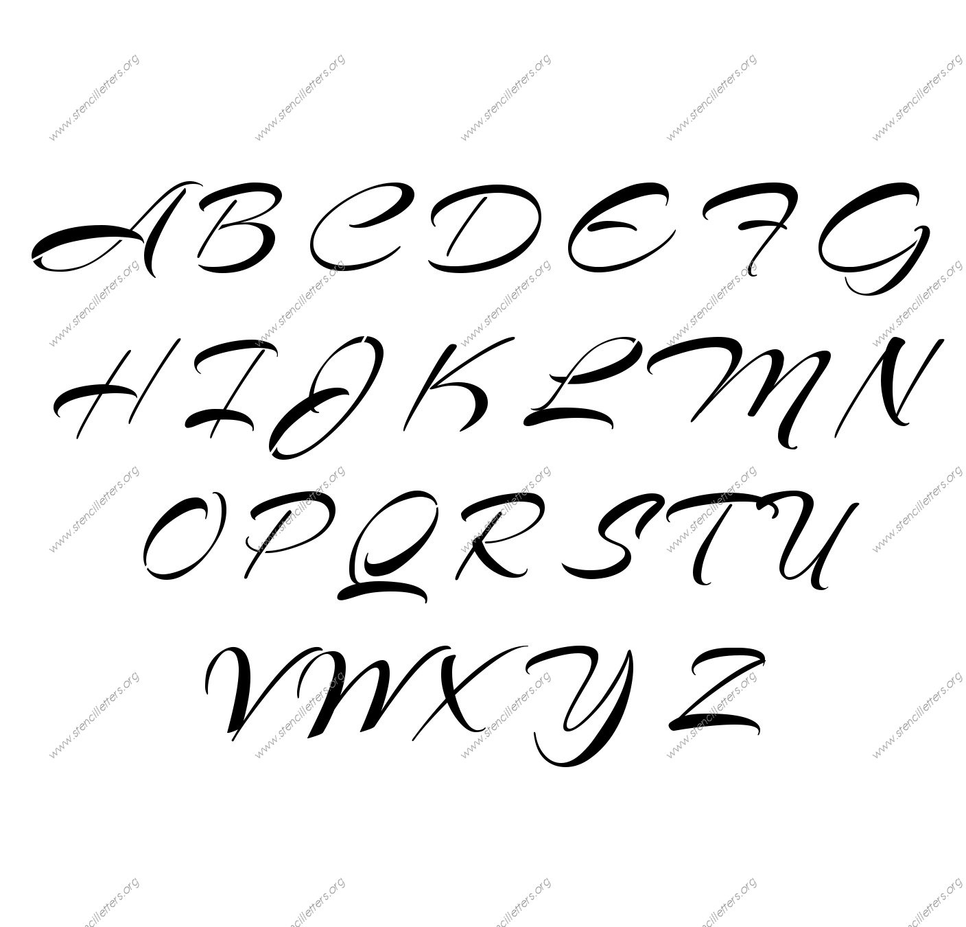 Brushed Cursive A to Z uppercase letter stencils