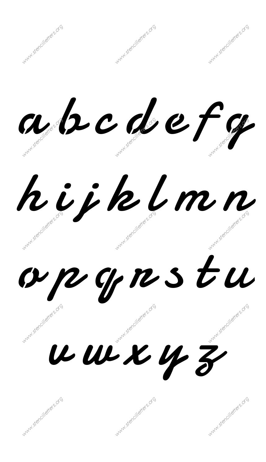 Display Script Cursive A to Z lowercase letter stencils