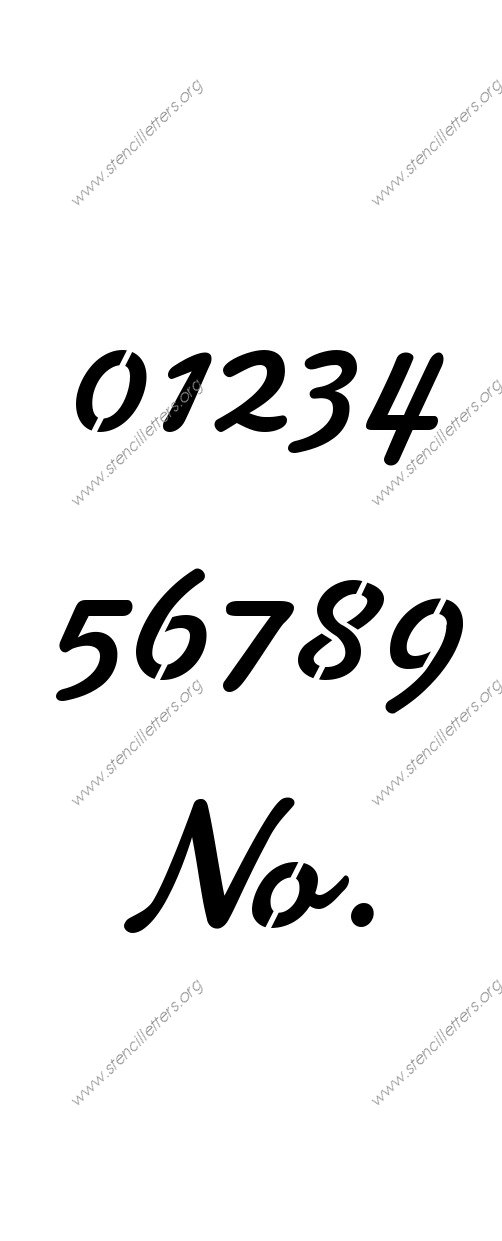 Display Script Cursive Number Stencil