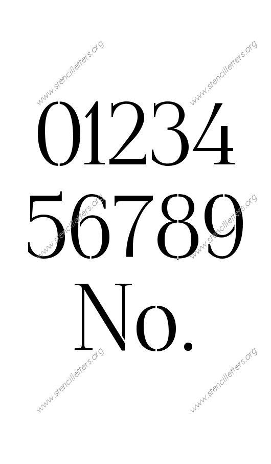 Formal Elegant 0 to 9 number stencils