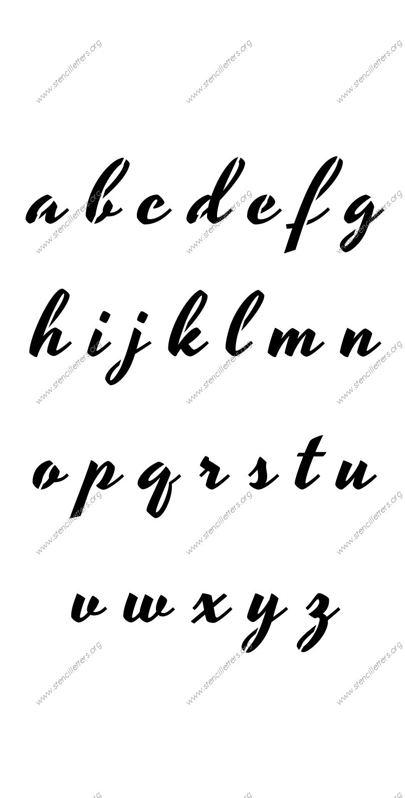 1940s Brushed Cursive A to Z lowercase letter stencils