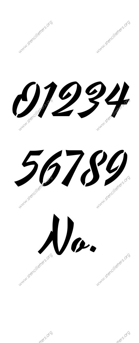 1940s Brushed Cursive 0 to 9 number stencils