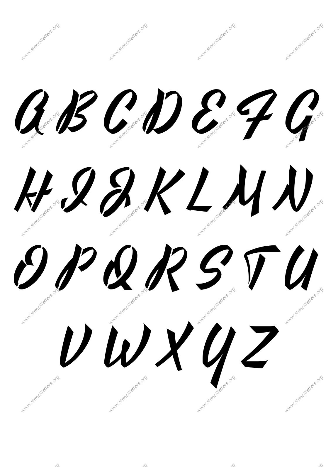 1940s Brushed Cursive Stencil Letter Set