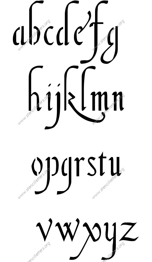 16th Century Cursive A to Z lowercase letter stencils