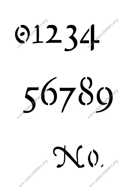 16th Century Cursive 0 to 9 number stencils