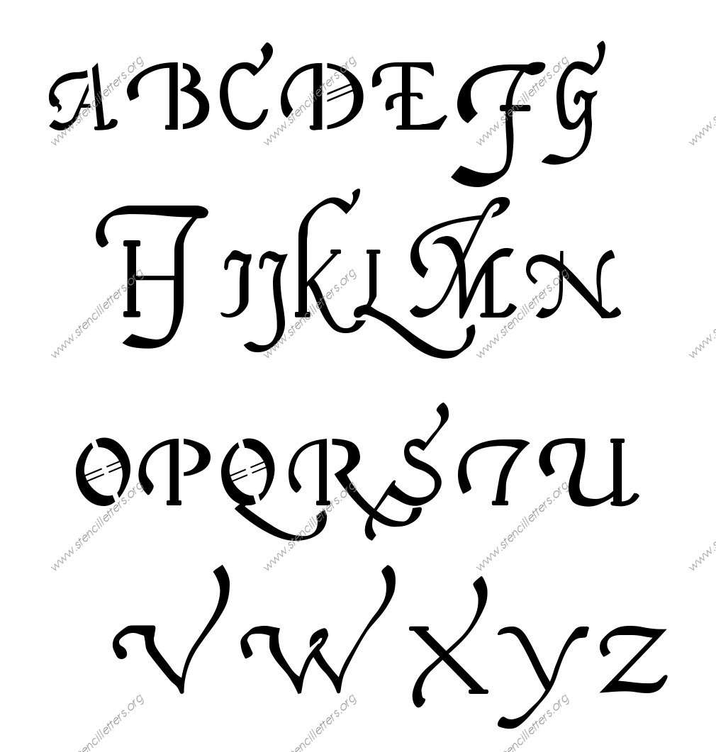 16th Century Cursive A to Z uppercase letter stencils