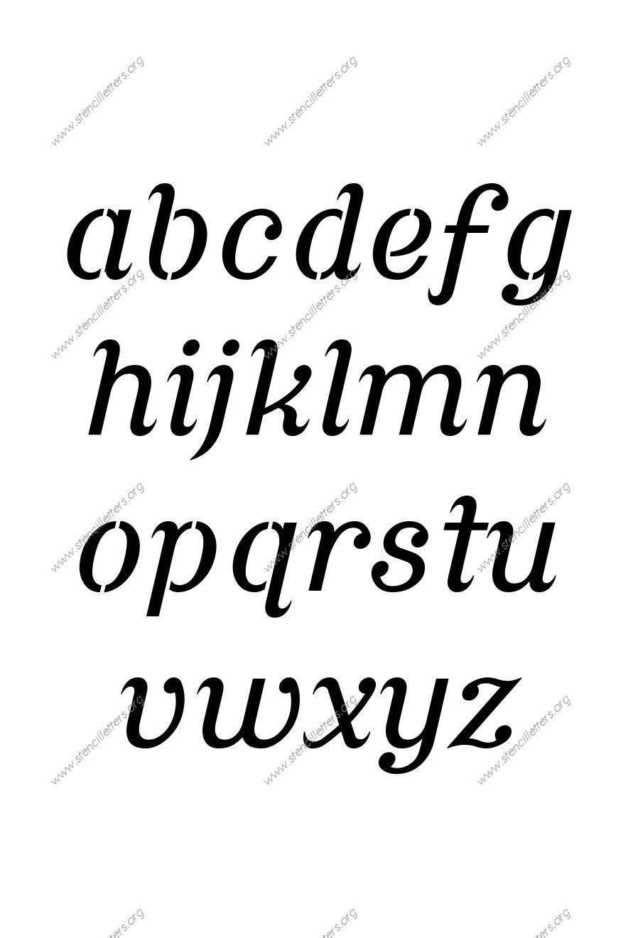 Grand Ornamental Cursive A to Z lowercase letter stencils