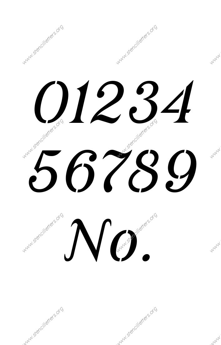 Grand Ornamental Cursive 0 to 9 number stencils