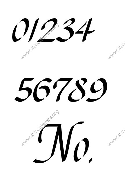 Stylish Cursive 0 to 9 number stencils