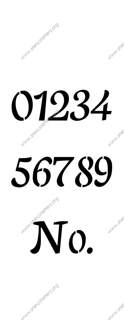 Humanist Cursive 0 to 9 number stencils