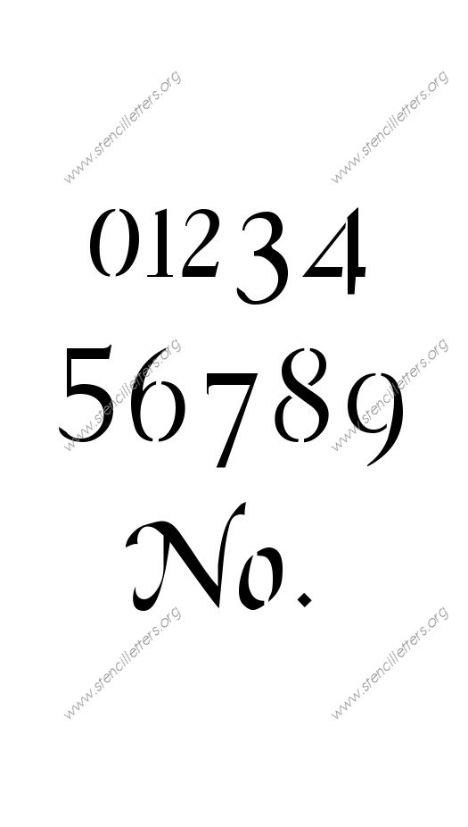 Graceful Cursive Number Stencil