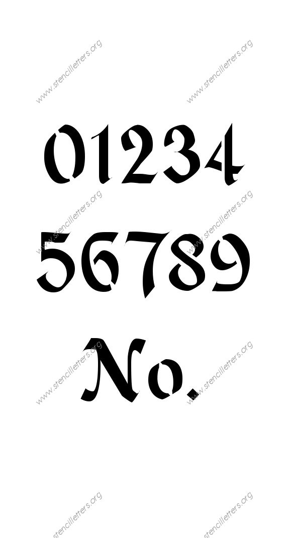 Gothic Calligraphy 0 To 9 Number Stencils