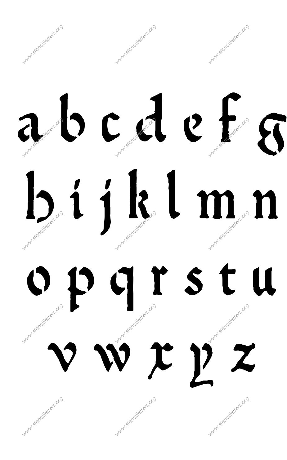 Medieval calligraphy uppercase lowercase letter stencils