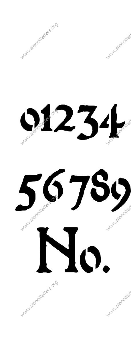 Medieval Calligraphy 0 to 9 number stencils