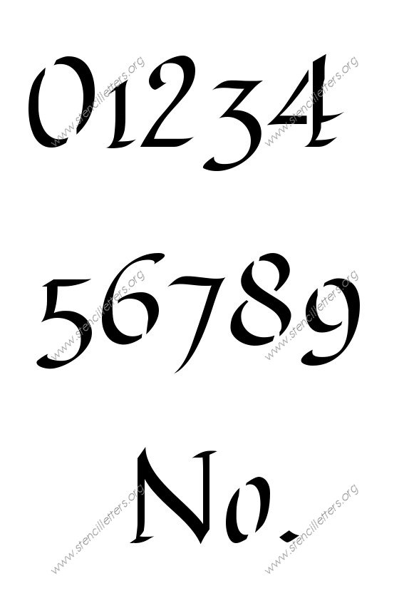 Longhand Calligraphy 0 to 9 number stencils
