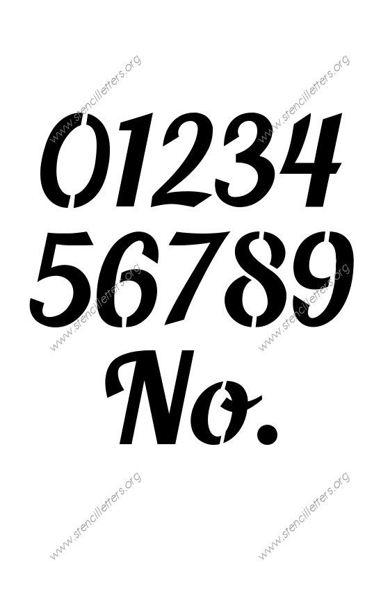 Script Calligraphy 0 to 9 number stencils