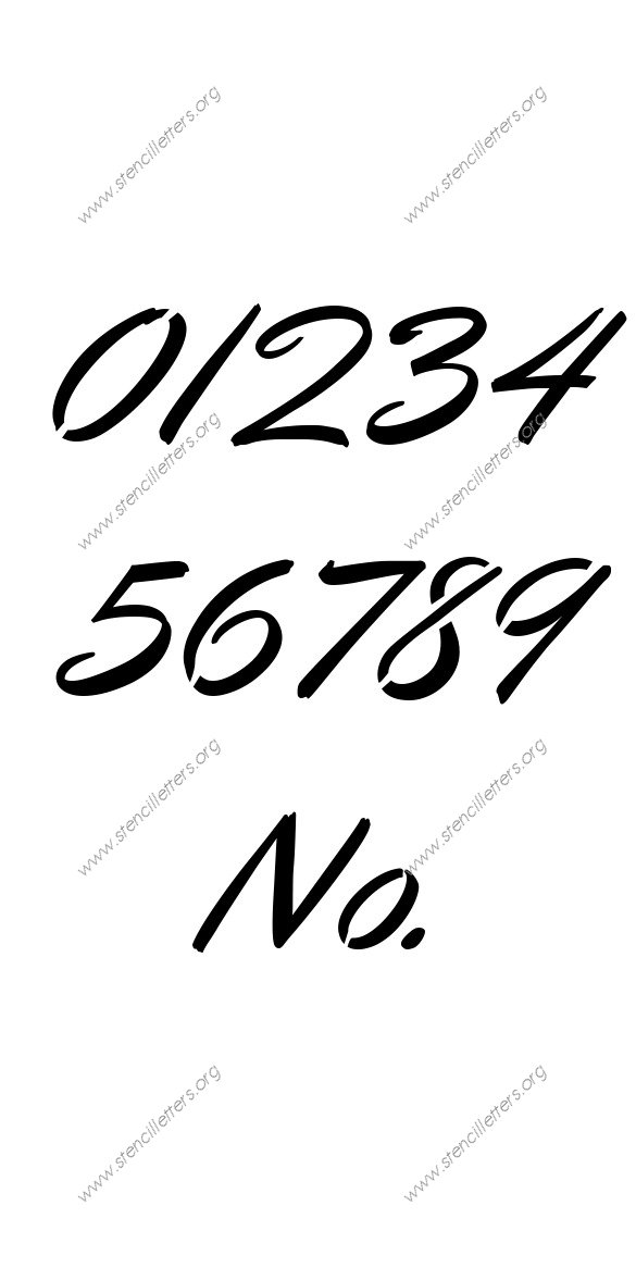 Cartoon Calligraphy 0 to 9 number stencils