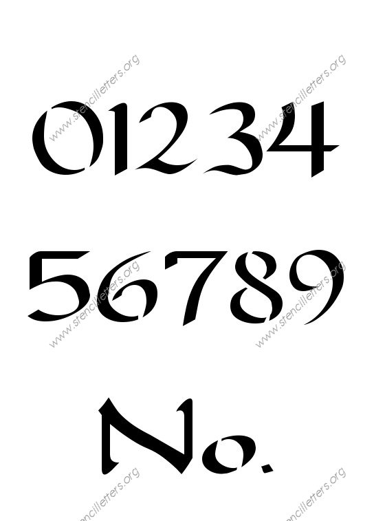 Longhand Penmanship Calligraphy Number Stencil