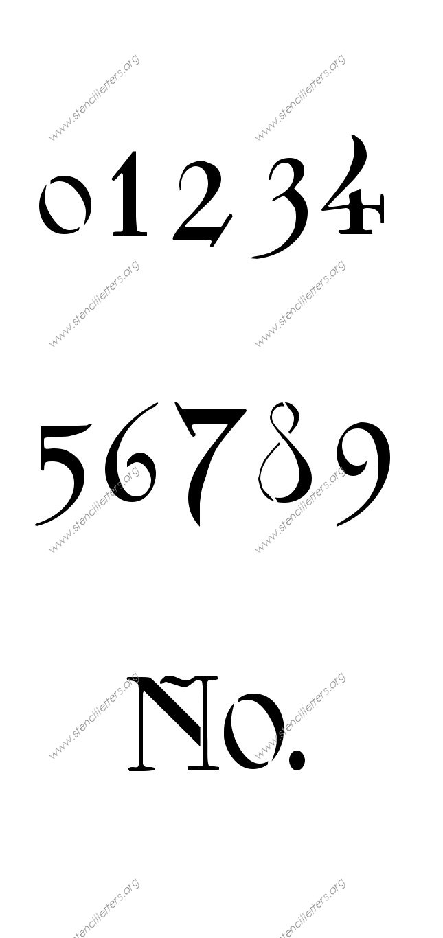 Fantasy Art Nouveau 0 to 9 number stencils