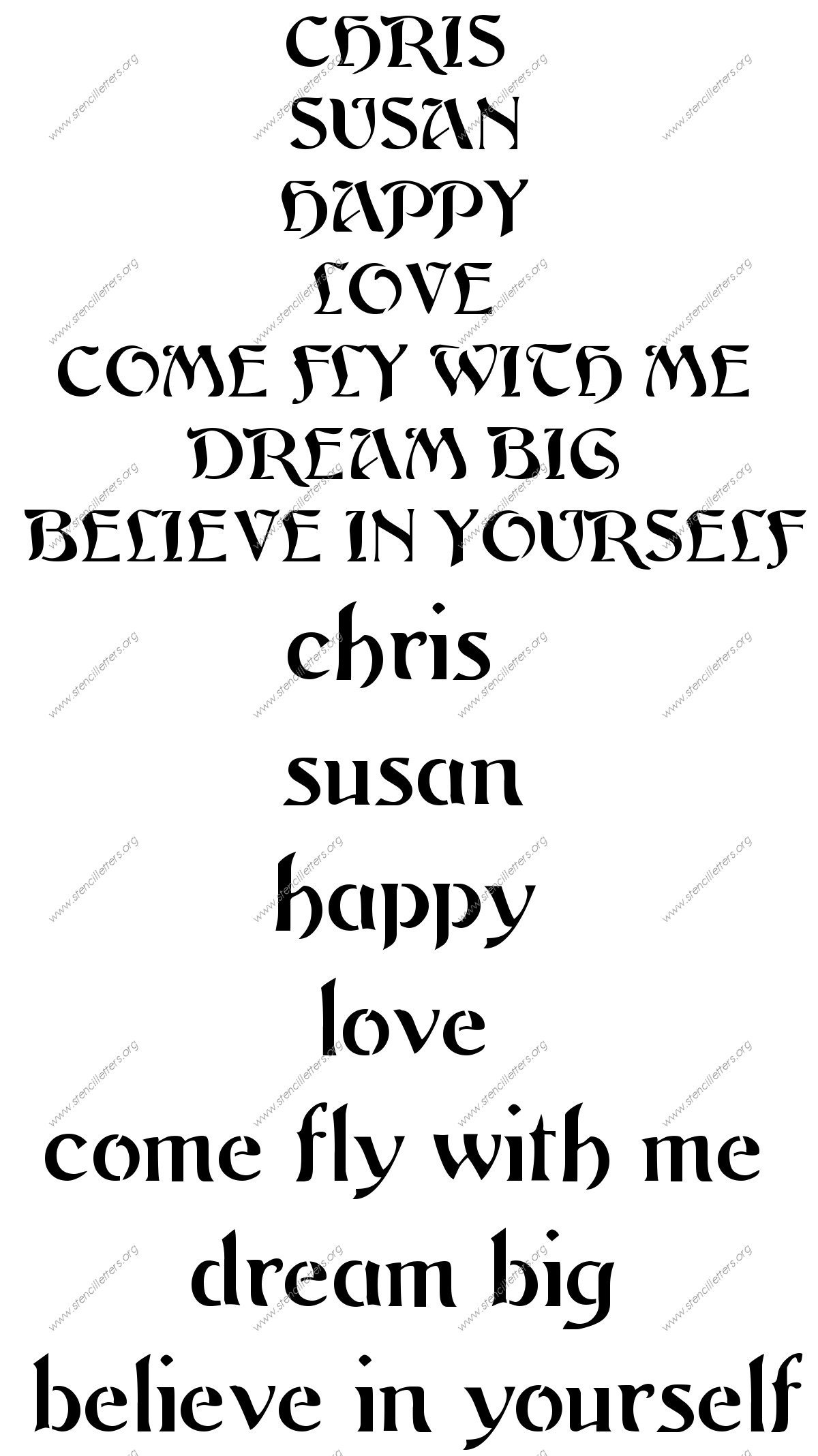 custom-stencilletter-words  Inch Letter Stencils Template on