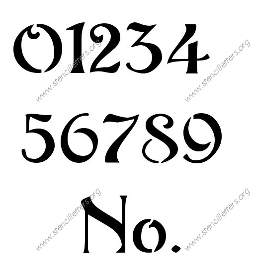 Flowing Art Nouveau 0 to 9 number stencils