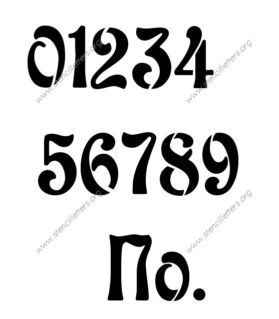 Decorative Art Nouveau Number Stencil