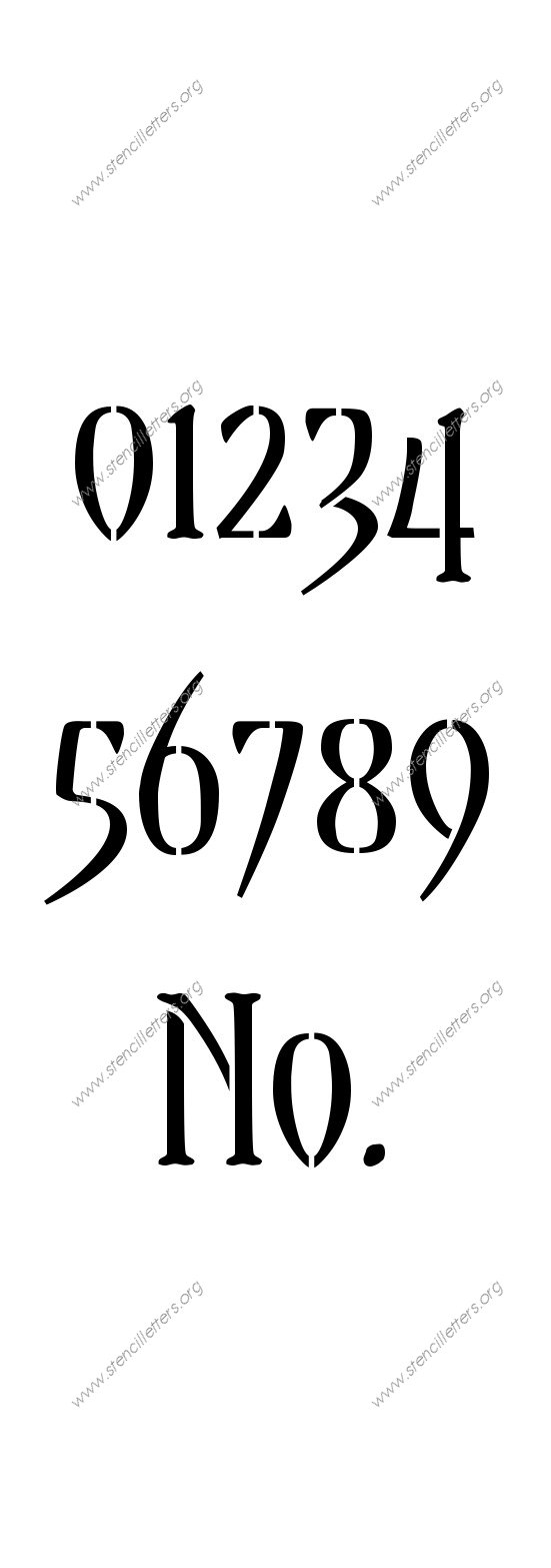 Gothic Decorative 0 to 9 number stencils