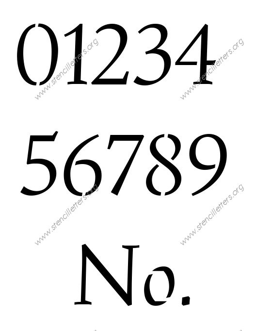 Humanist Italic 0 to 9 number stencils