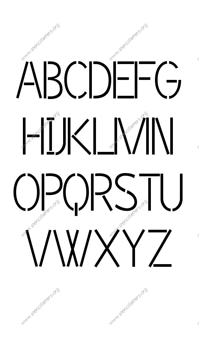 Light Modern A to Z alphabet stencils